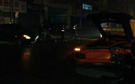 Crash Time China: Toyota hits Lamborghini Aventador hard in the back